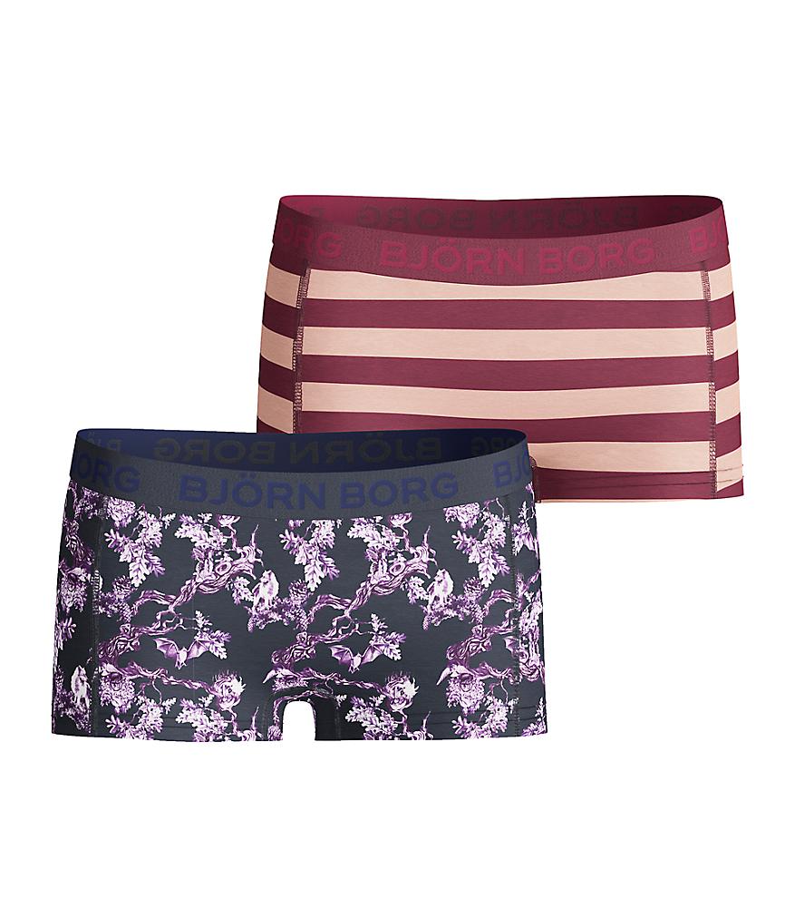2-pack Girls Mini Shorts Storybook & Wonderland Stripe